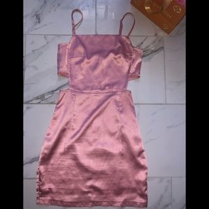 Pink Satin Cut Out Mini Dress